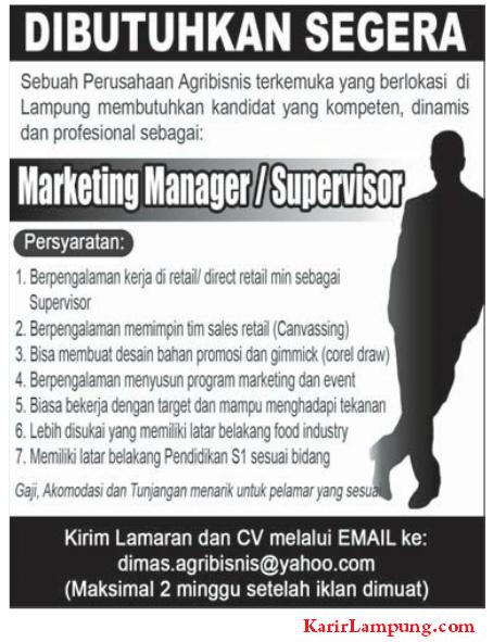 Iklan Lowongan Pekerjaan Manager Marketing
