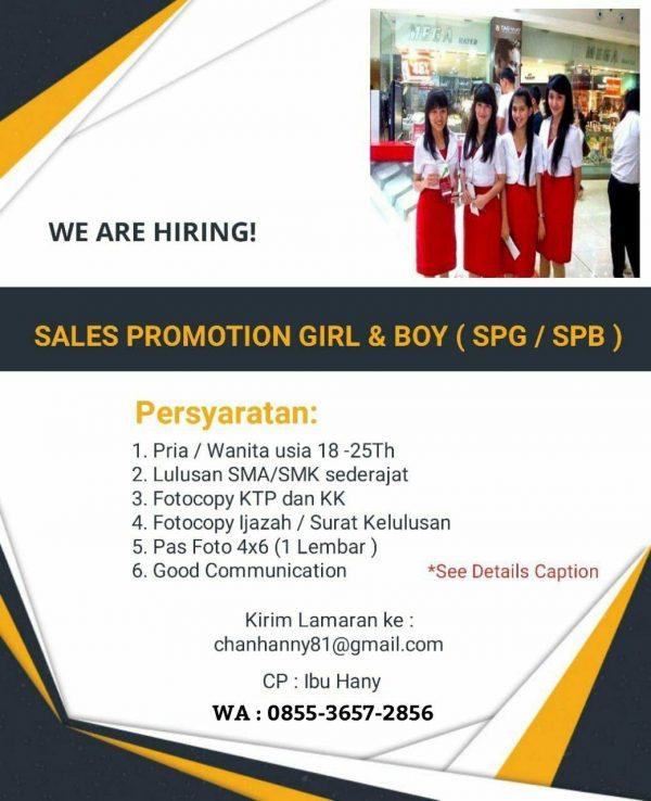 Iklan Lowongan Pekerjaan Sales Promotion Girl