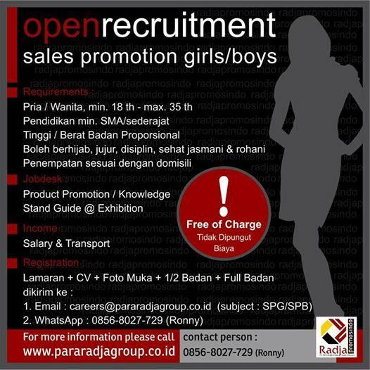Iklan Lowongan Pekerjaan Sales Promotion Girl2