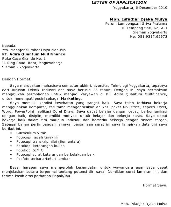 Surat Lamaran Kerja Freelance