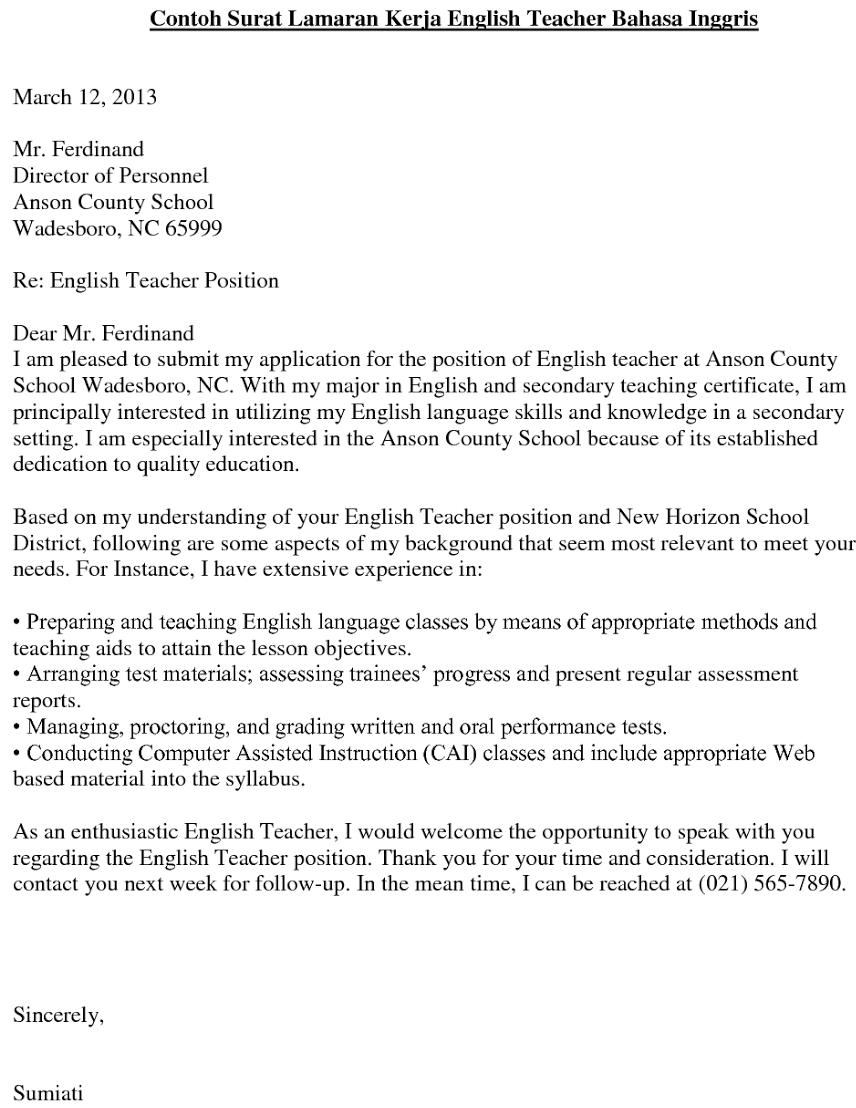 Contoh Surat Lamaran Kerja Guru Terbaru Dan Terlengkap 2019