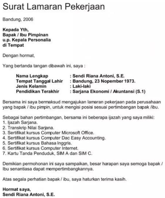Surat Lamaran Kerja Manager Produksi