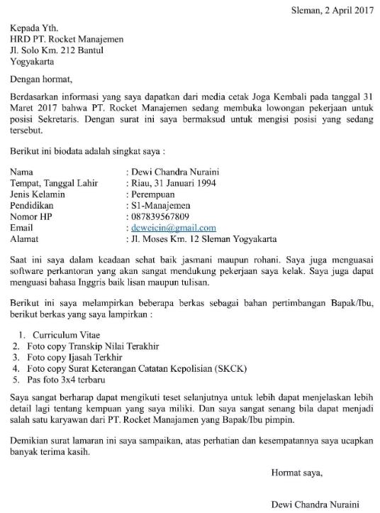 Surat Lamaran Kerja Sekretaris