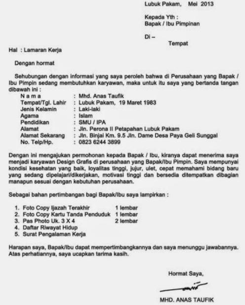 Surat Lamaran Kerja Telemarketing