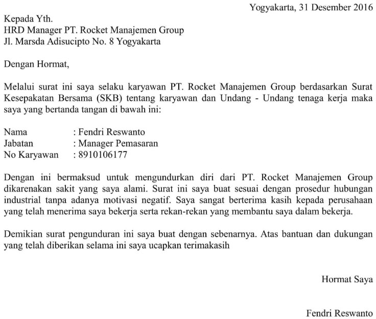 Contoh Surat Berhenti Kerja Manager Marketing