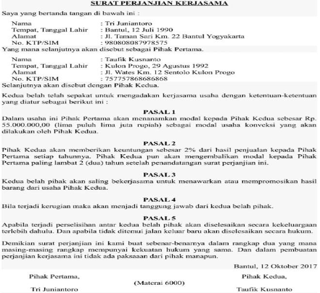 14 Contoh Surat Perjanjian Kerjasama Terlengkap Yang Pernah Ada