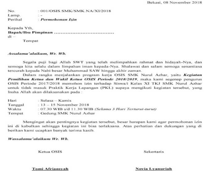 Surat Izin Tidak Masuk PKL
