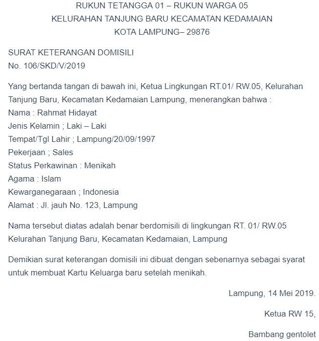 Contoh Surat Contoh Surat Domisili Dari Rt