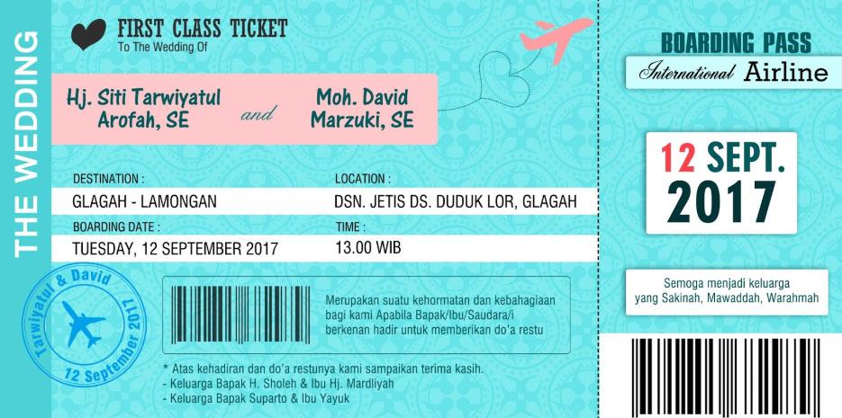 Undangan Pernikahan Boarding Pass
