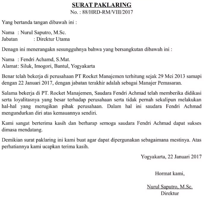 Contoh Surat Pengalaman Kerja di Indomaret