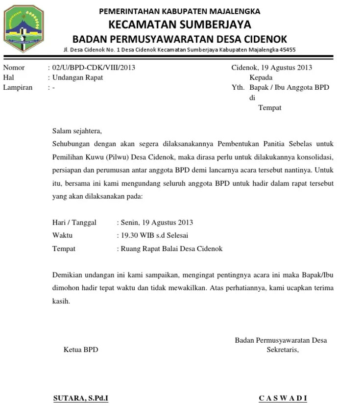 Contoh Surat Undangan Rapat Desa