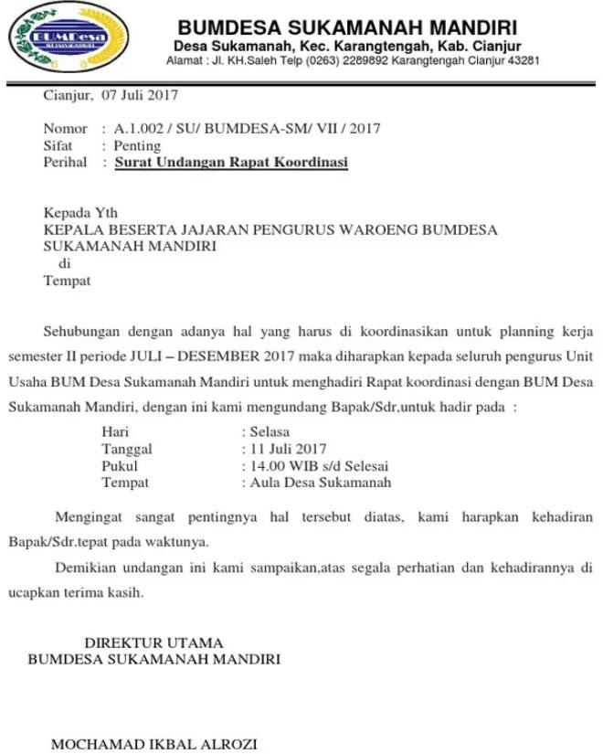 Contoh Surat Undangan Rapat Musyawarah Desa