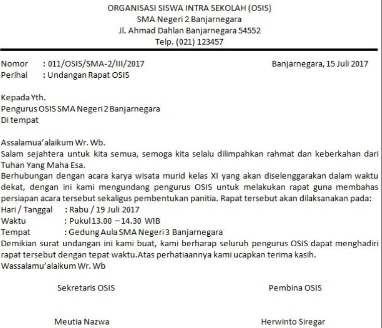 Contoh Surat Undangan Rapat OSIS