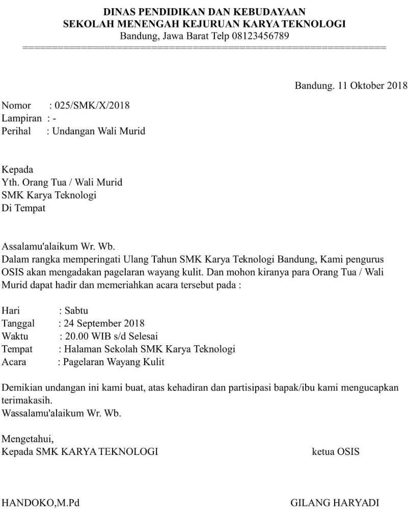 18 Contoh Contoh Surat Undangan Rapat Resmi Terbaru 2019 ...