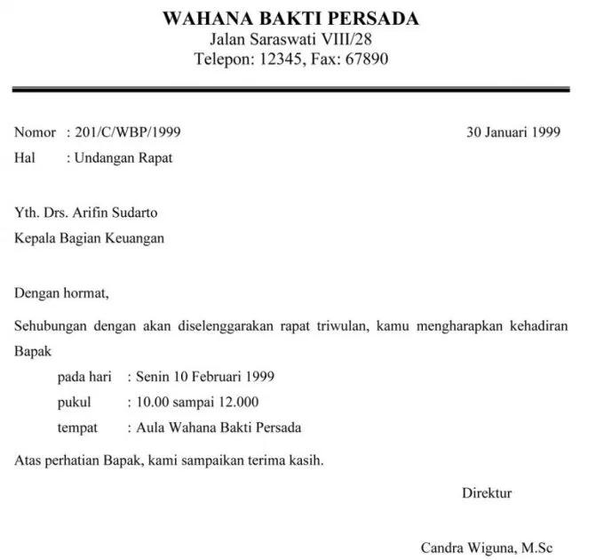 Contoh Surat Pemberitahuan Undangan Rapat