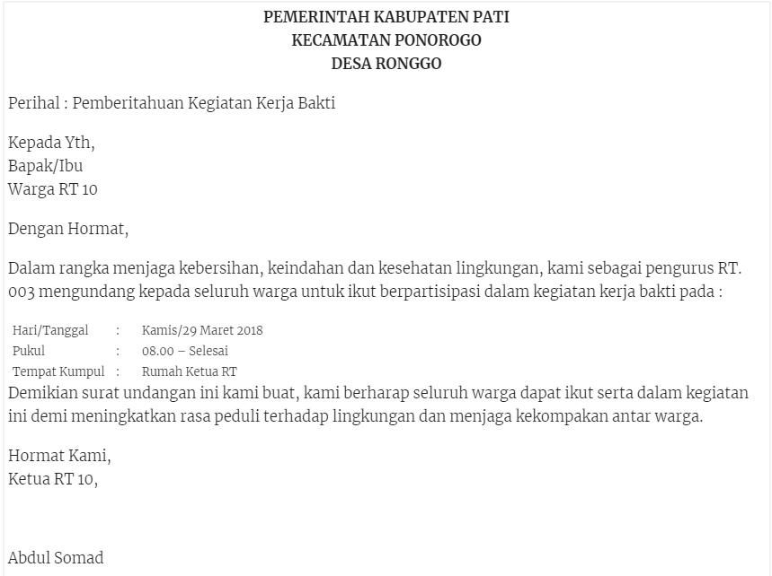 Contoh Surat Pemberitahuan dari Kelurahan atau Kecamatan