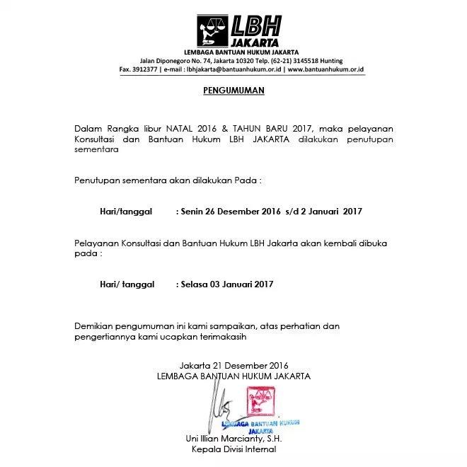 Contoh Surat Pemberitahuan dari Organisasi