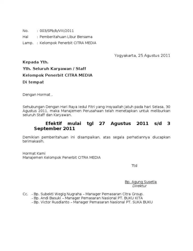 Contoh Surat Pemberitahuan dari Perusahaan kepada Karyawannya