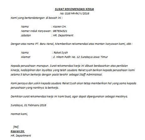 contoh surat referensi kerja untuk staf administrasi niaga