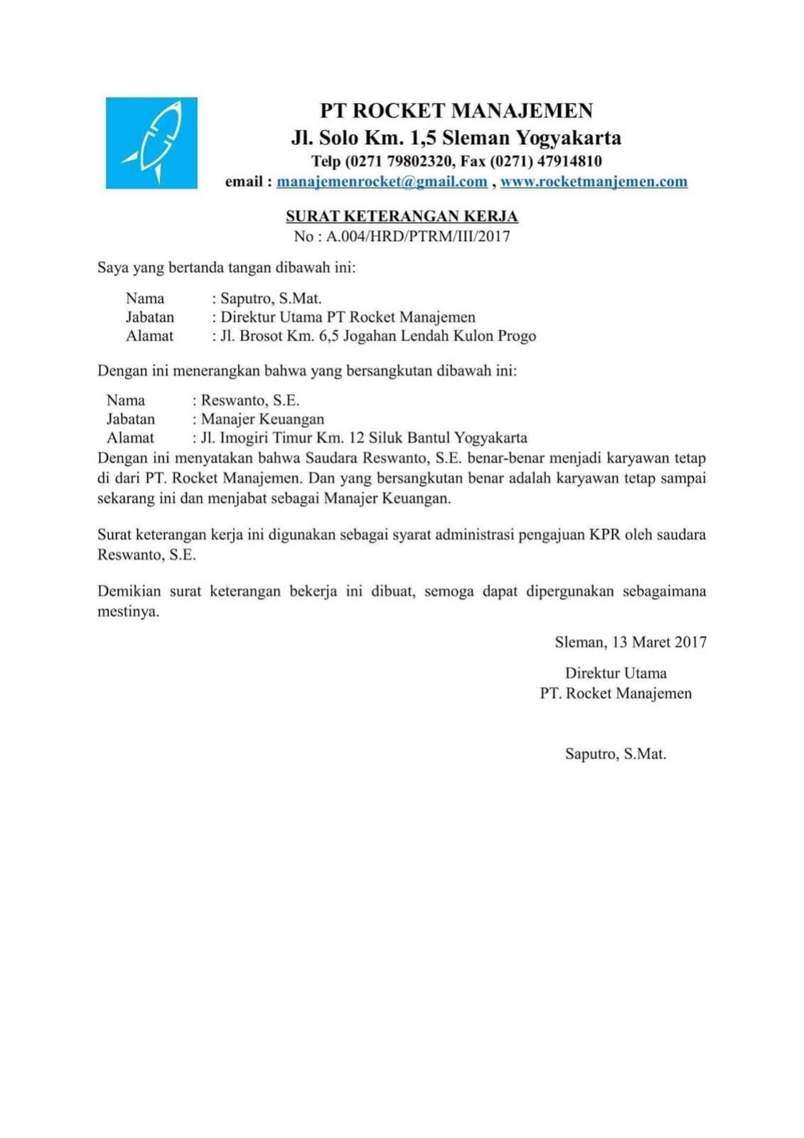 contoh surat referensi kerja sebagai manajer