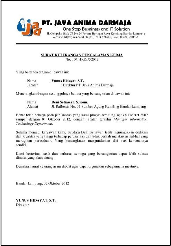 contoh surat referensi kerja perusahaan